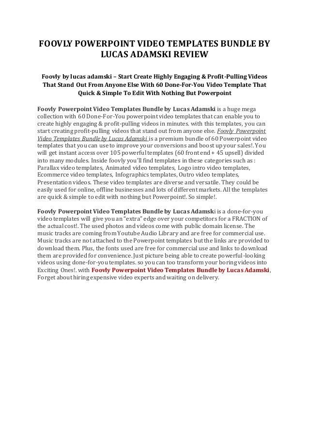 Foovly Powerpoint Video Templates Bundle By Lucas Adamski Review