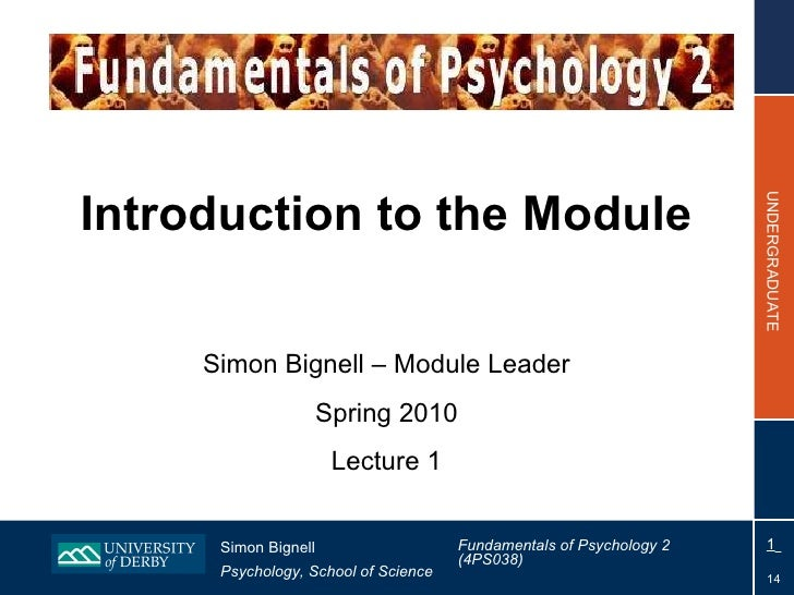 Introduction to the Module Simon Bignell – Module Leader Spring 2010 Lecture 1