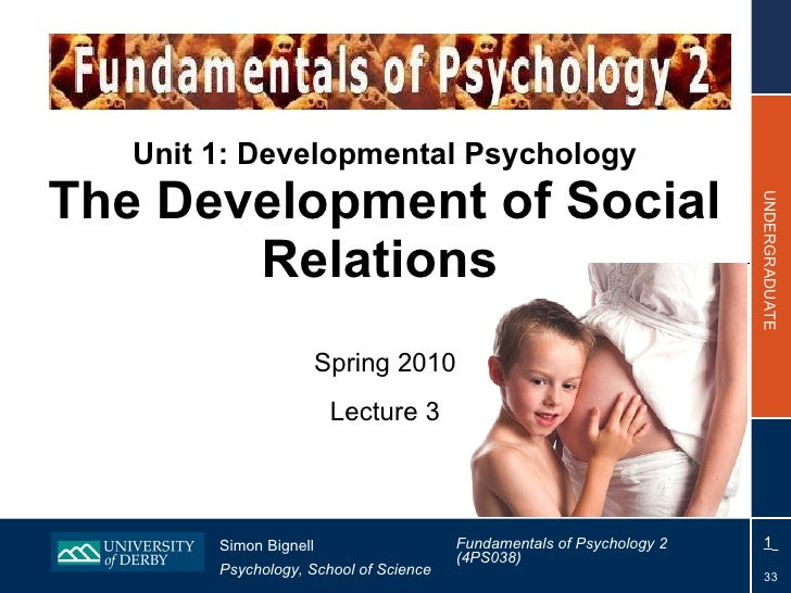 Unit 1: Developmental Psychology The Development of Social Relations   Spring 2010 Lecture 3