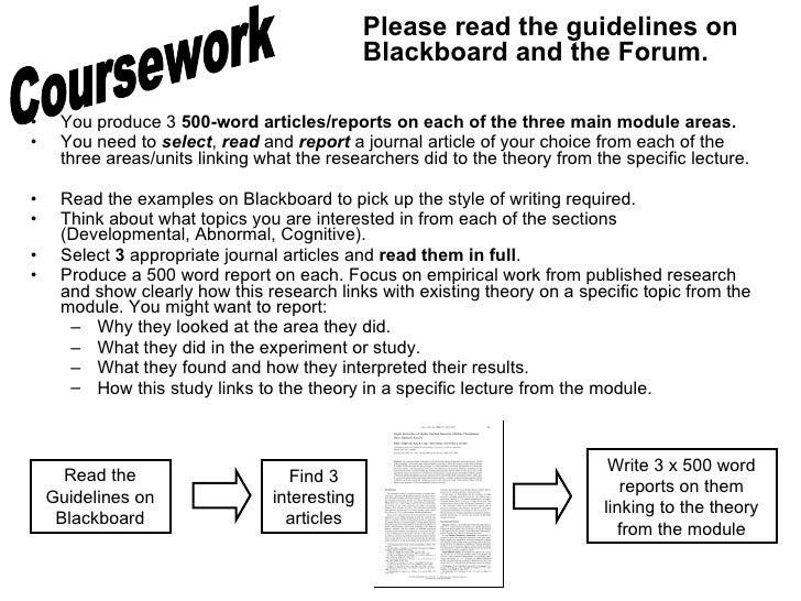 <ul><li>You produce 3  500-word articles/reports   on each of the three main module areas. </li></ul><ul><li>You need to  ...