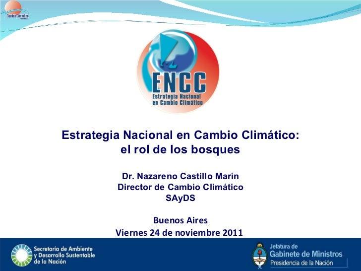Estrategia Nacional en Cambio Climático: el rol de los bosques Dr. Nazareno Castillo Marín Director de Cambio Climático SA...