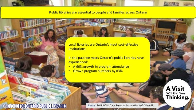 Source: 2018 FOPL Data Reports: https://bit.ly/2DDewd8 Local libraries are Ontario's most cost-effective institutions. In ...