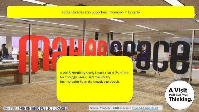 Source: Nordicity's BRIDGE Report: https://bit.ly/2z6bP08 Public libraries lend e-books An average public library in Ontar...
