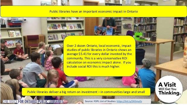 Source: FOPL List of Studies: https://bit.ly/2K0mu0z Over 2 dozen Ontario, local economic, impact studies of public librar...