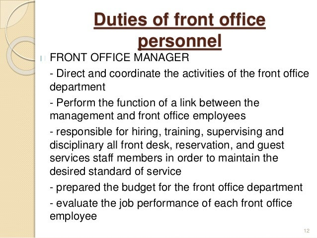Introduction To Front Office Rh Slideshare Net Front Desk Duties  Description Front Desk Duties Medical Office