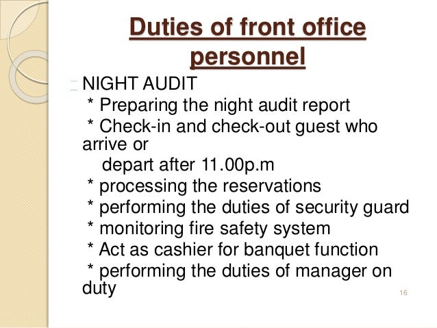 INTRODUCTION TO FRONT OFFICE – Night Auditor Job Description