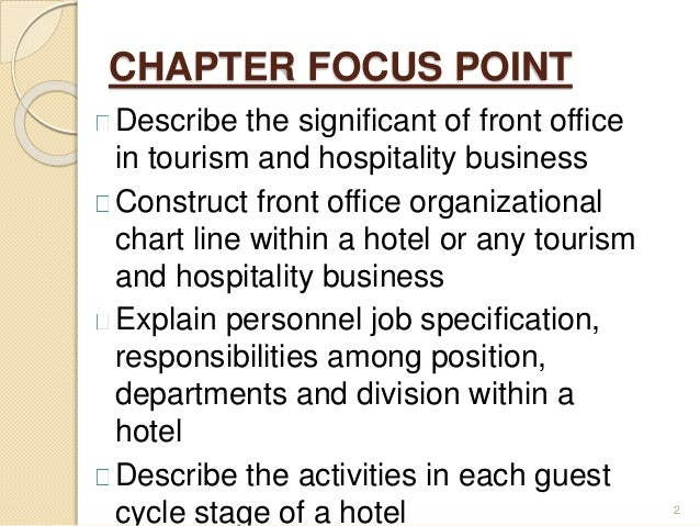 an introduction to the analysis of front office Introduction to front office importance of front office • an introduction to the company • the communications job specification is derived from job analysis.