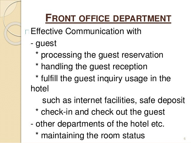 importance of front office in hotel industry