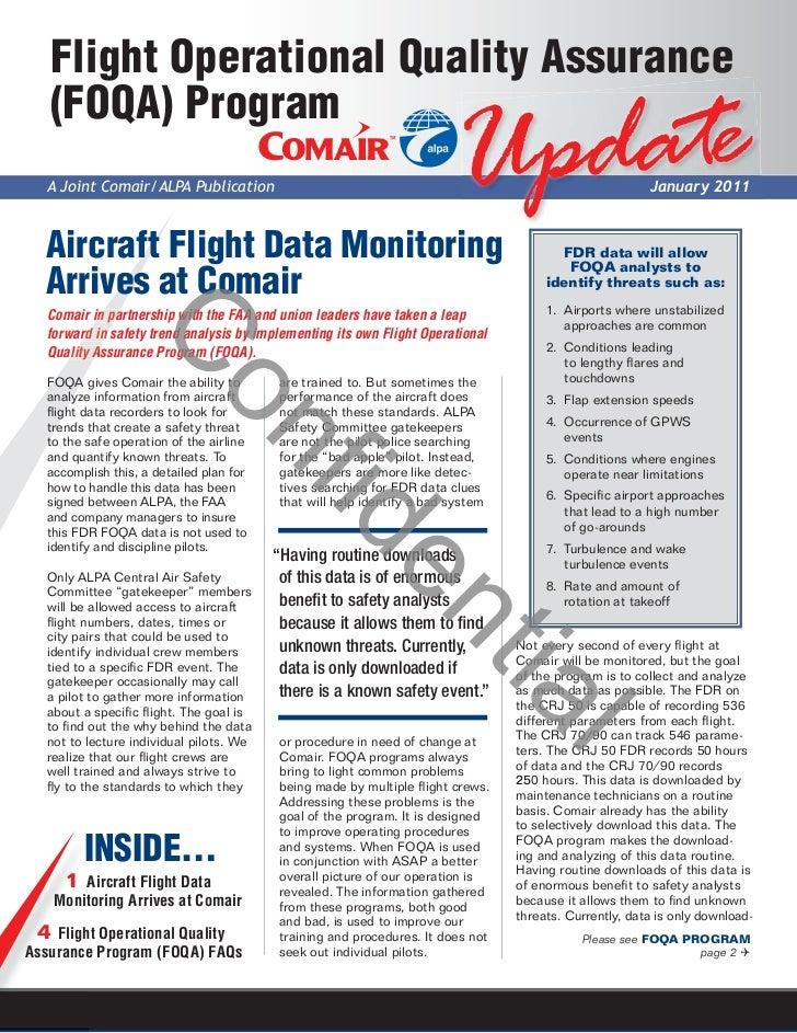 Flight Operational Quality Assurance   (FOQA) Program  A Joint Comair/ALPA Publication                                    ...