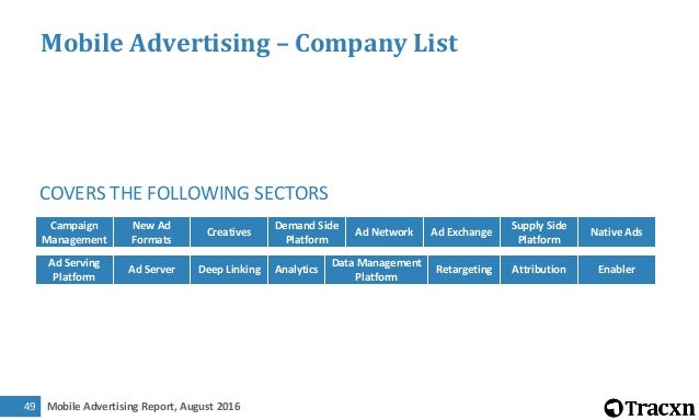 Mobile Advertising Report, August 201650 Campaign Management (1/4) Campaign Management New Ad Formats Creatives Demand Sid...