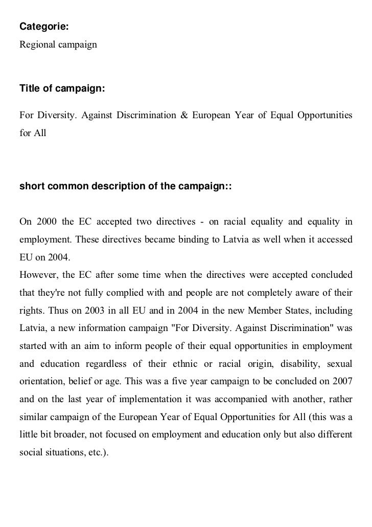 Categorie:Regional campaignTitle of campaign:For Diversity. Against Discrimination & European Year of Equal Opportunitiesf...