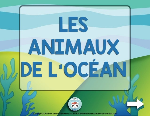 LES ANIMAUX DE L'OCÉAN Copyright © 2015 For French Immersion ALL RIGHTS RESERVED www.forfrenchimmersion.com