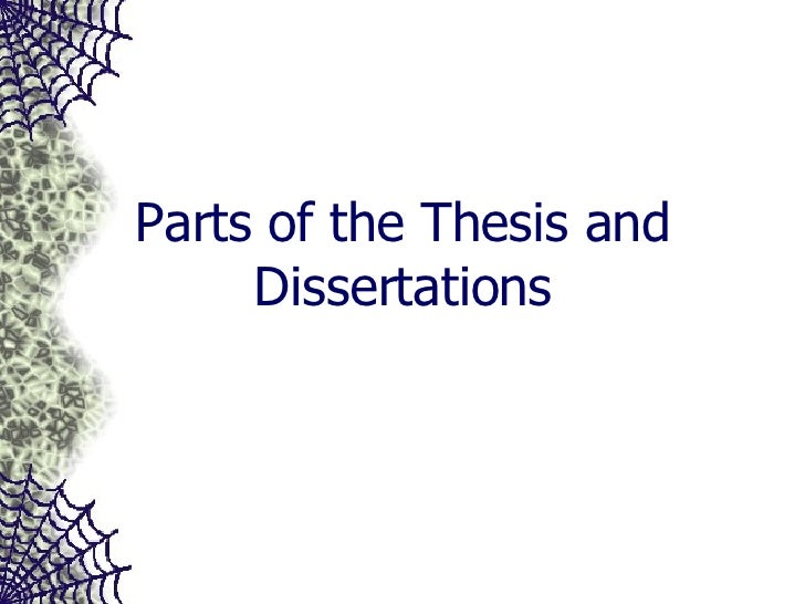 Parts of the Thesis and Dissertations
