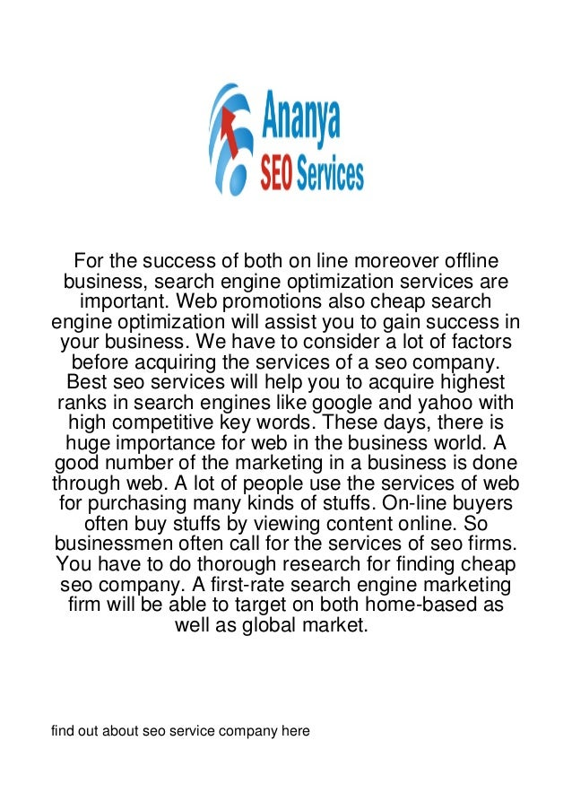 For the success of both on line moreover offline  business, search engine optimization services are    important. Web prom...