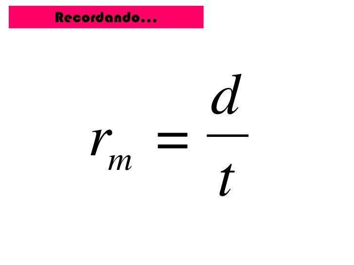 Recordando…        d   rm =        t