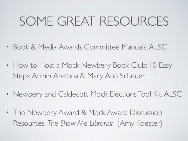 For a Child Audience: Mock Award Programs in the Library