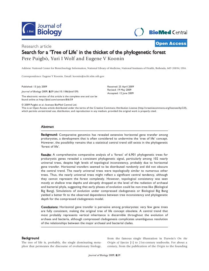 Open Access Research article Search for a 'Tree of Life' in the thicket of the phylogenetic forest Pere Puigbò, Yuri I Wol...