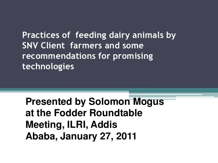 Practices of feeding dairy animals by SNV Client farmers and some recommendations for promising technologies