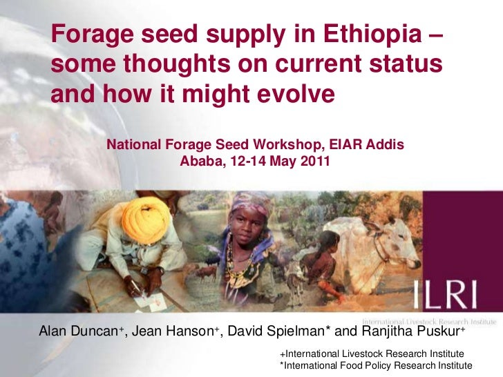 Forage seed supply in Ethiopia – some thoughts on current status and how it might evolve<br />Alan Duncan+, Jean Hanson+, ...