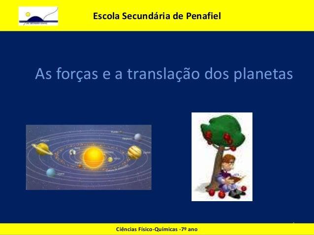As forças e a translação dos planetas 1 Escola Secundária de Penafiel Ciências Físico-Químicas -7º ano