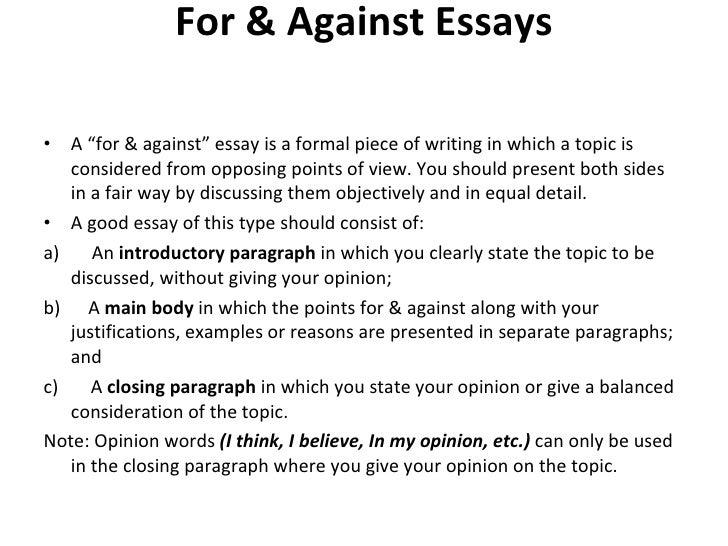 For U0026 Against Essays U003culu003eu003cliu003eA U201cfor U0026 Againstu201d ...