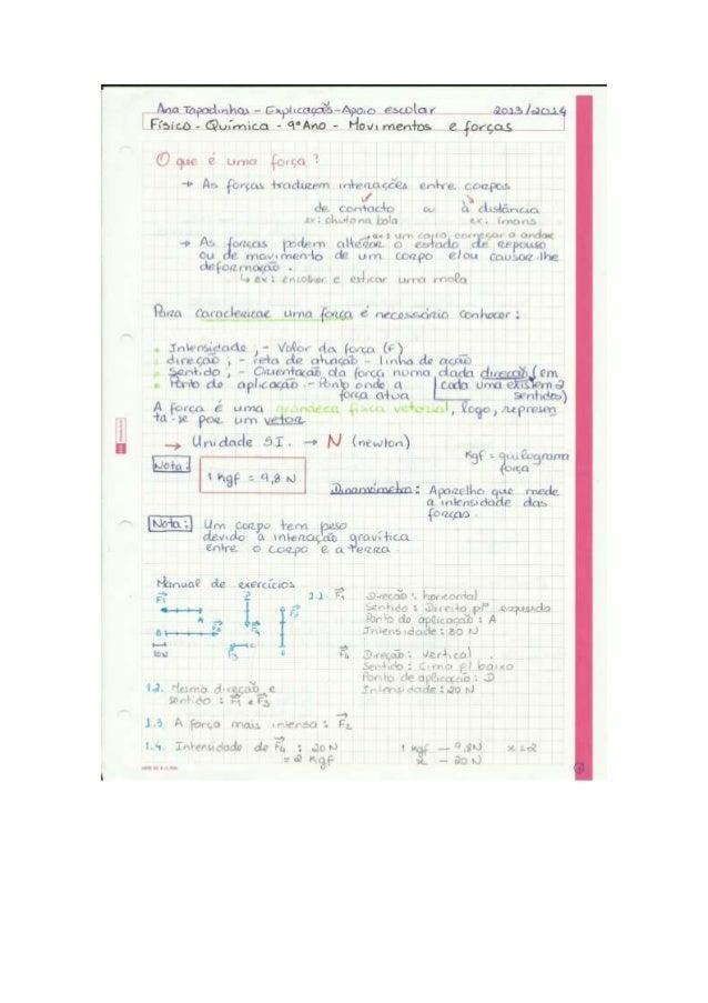 Forças  (física) - 9 ano - Resumo teórico