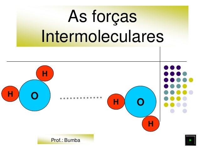 As forças Intermoleculares O H H H H O Prof.: Bumba