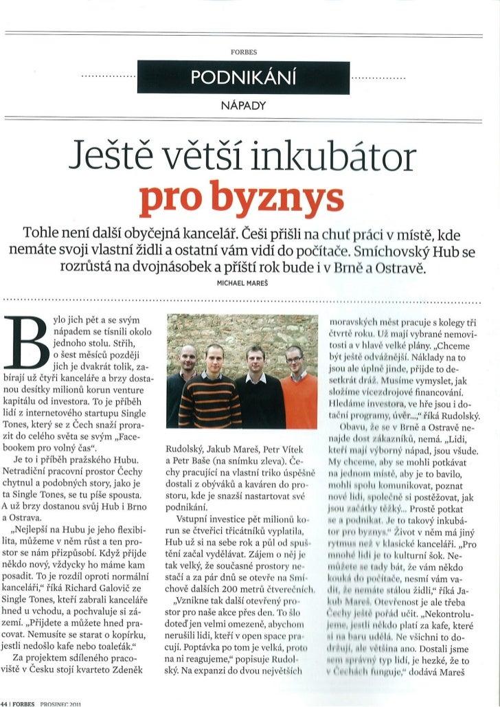 Forbes magazine about Hub Prague