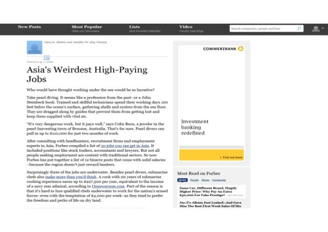 Forbes Asia's Weirdest High Paying Jobs -9May2010