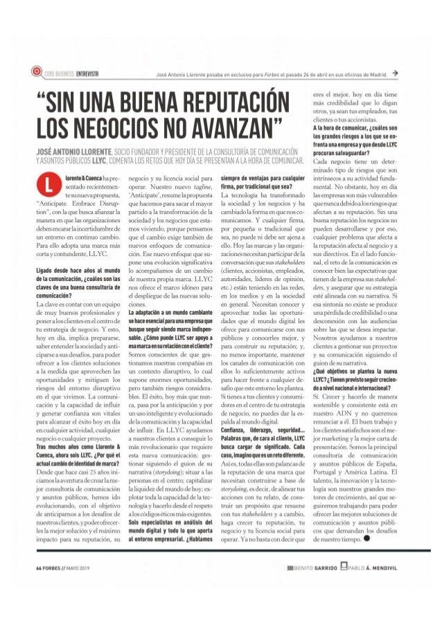 """José Antonio Llorente: """"Sin una buena reputación los negocios no avanzan"""""""