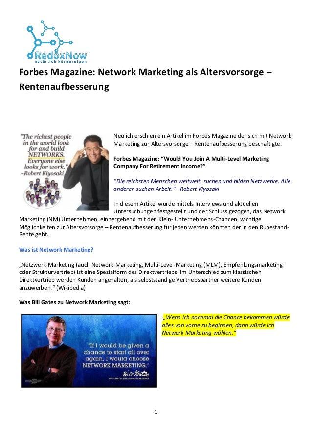 1 Forbes Magazine: Network Marketing als Altersvorsorge – Rentenaufbesserung Neulich erschien ein Artikel im Forbes Magazi...