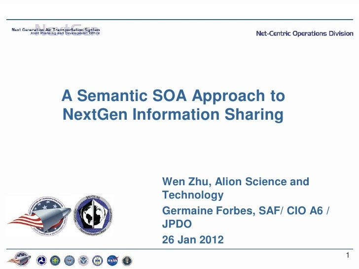 A Semantic SOA Approach toNextGen Information Sharing            Wen Zhu, Alion Science and            Technology         ...