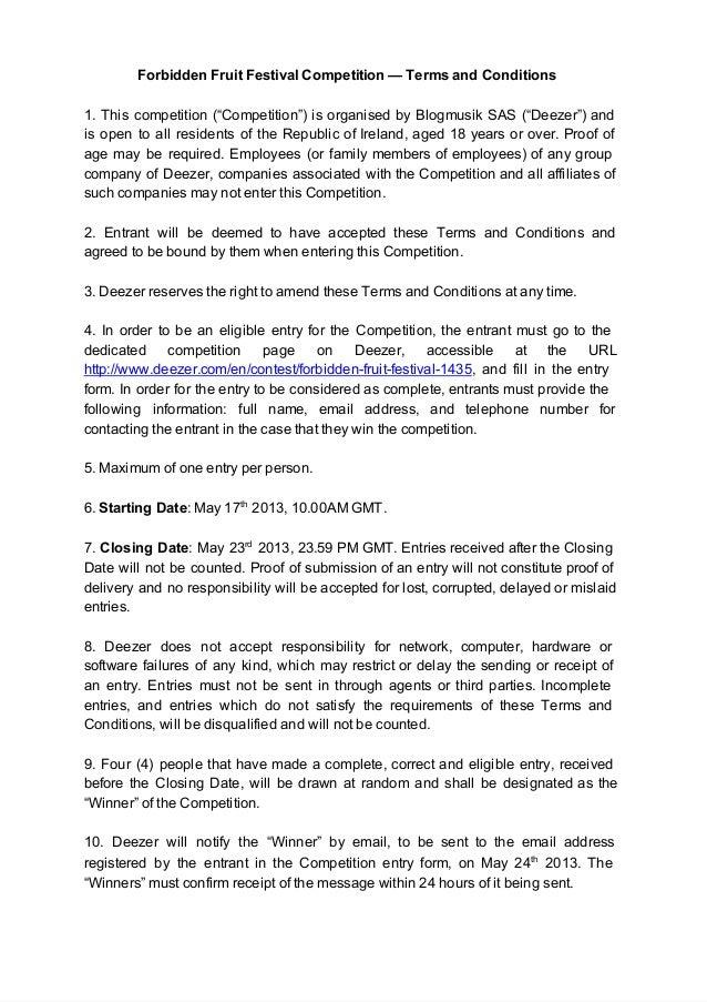 """ForbiddenFruitFestivalCompetition—TermsandConditions1. This competition (""""Competition"""") is organised by Blogmusik S..."""