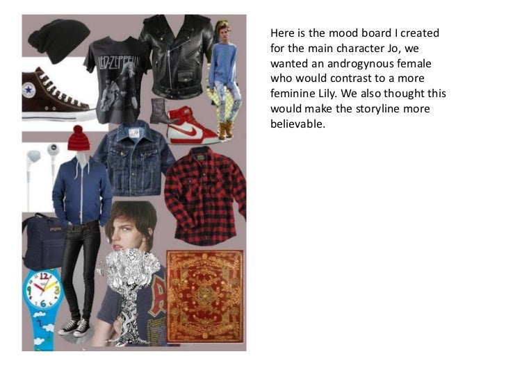 Here is the mood board I created for the main character Jo, we wanted an androgynous female who would contrast to a more f...
