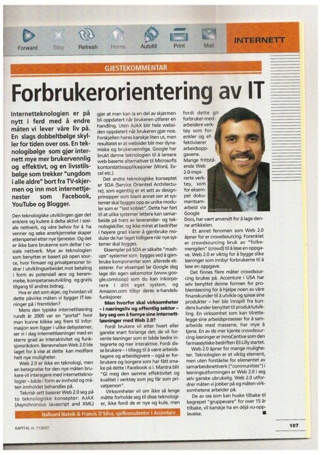 Forbrukerorientering av IT - Kapital nov 2007