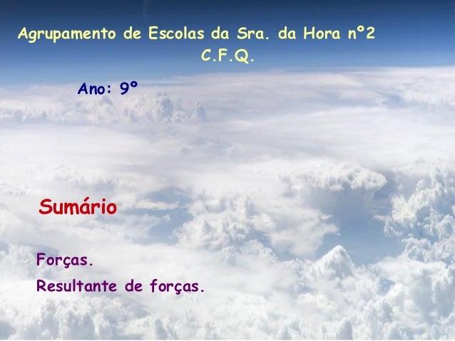 Agrupamento de Escolas da Sra. da Hora nº2                      C.F.Q.       Ano: 9º  Sumário  Forças.  Resultante de forç...