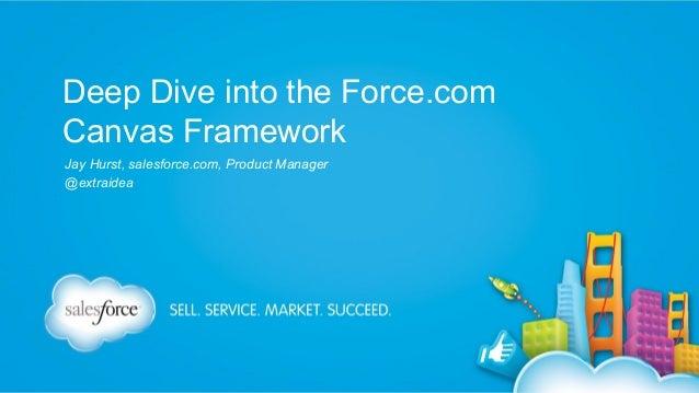 Deep Dive into the Force.com Canvas Framework Jay Hurst, salesforce.com, Product Manager @extraidea