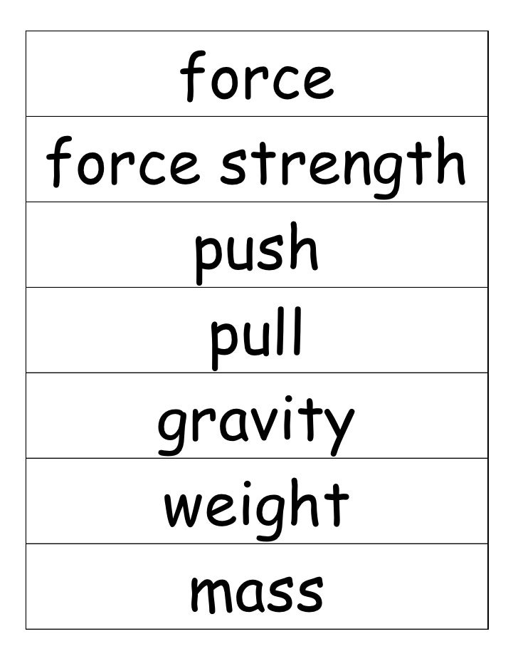 force force strength      push       pull     gravity     weight      mass