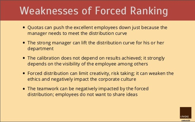 pros and cons of forced distribution We use a guided distribution in a population of 50 or more employees i am however old for my time because i am a proponent of forced ranking-type techniques.