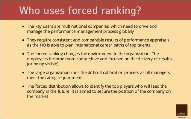 equity theory and forced ranking performance appraisals In my opinion, from an equity theory standpoint, forced ranking performance appraisals would not work for most companies in some instances, this could be viewed and considered by the employees a tool for companies that is used to eliminate under-producing employees.