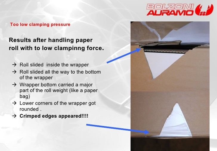 Results after handling paper roll with to low clampinng force . <ul><li>   Roll slided  inside the wrapper  </li></ul><ul...