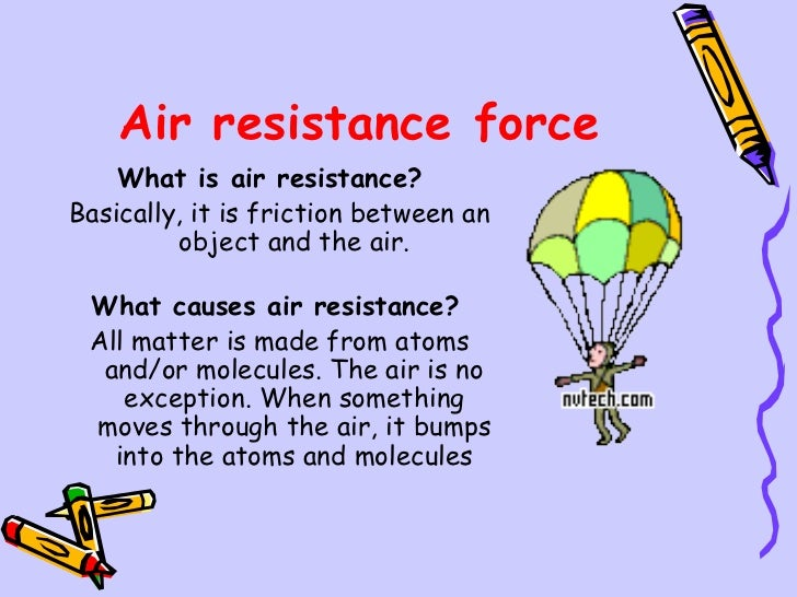 project force and air resistance What equation relates air resistance to force of gravity on the falling object fg = fr, where fg = weight of falling object and fr = upward air resistance 3.