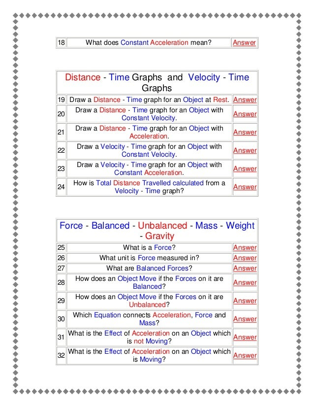Forces and motion – Force Problems Worksheet
