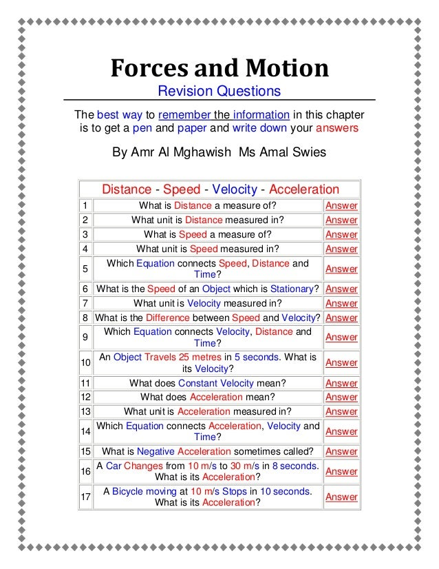 Forces And Motion, An Active Worksheet Prepared By Amr Almghawish Force And Motion Worksheets For Elementary Forces And Motion Revision Questions The Best Way To Remember The Information In This Chapter Is