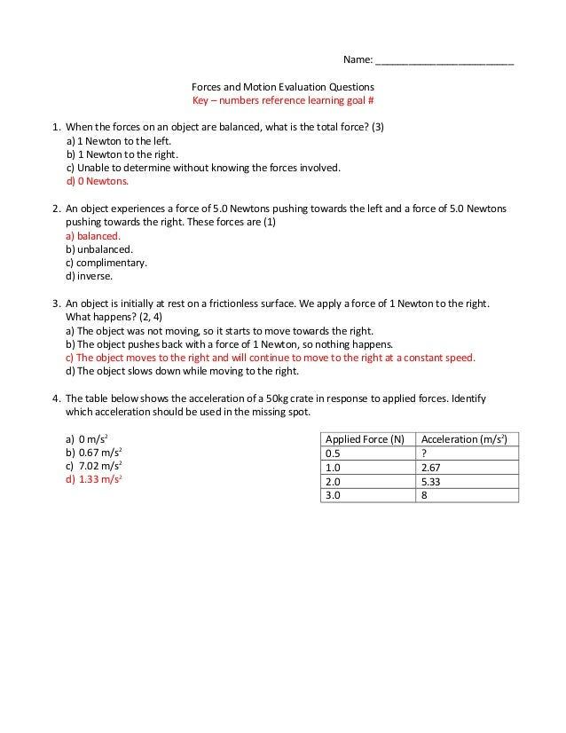 Forces and motion scripted – Forces and Motion Worksheet