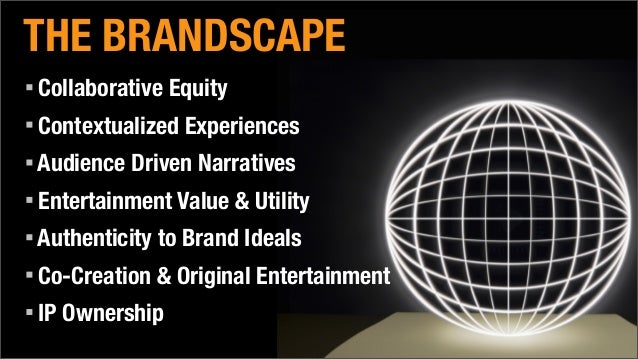 THE BRANDSCAPE Collaborative Equity Contextualized Experiences Audience Driven Narratives Entertainment Value & Utility Au...