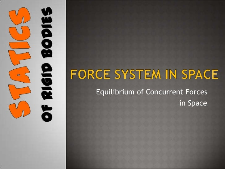 Force system in space<br />Equilibrium of Concurrent Forces <br />in Space<br />Statics<br />Of rigid bodies<br />