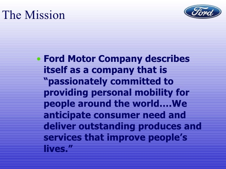 Ford 5 for Ford motor company mission statement