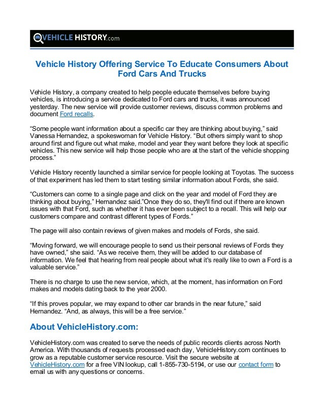 Vehicle History Offering Service To Educate Consumers About Ford Cars And  Trucks Vehicle History, a