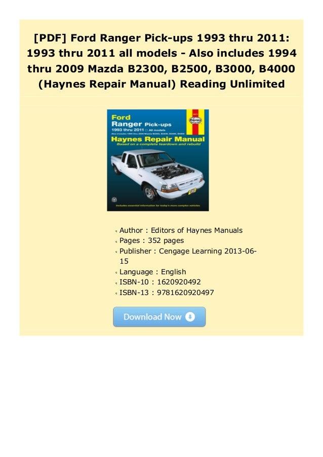 98 Mazda B2300 Service Manual